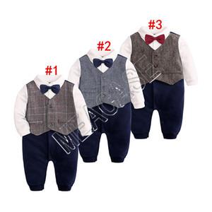 Newborn neonati pagliaccetto Papillon Gentleman manica lunga tuta pagliaccetto Brithday Toddler Kids Clothes smoking Bowtie Camicia Outfits D81204
