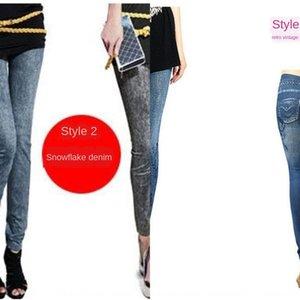 Sıcak Satılık yeni dikişsiz örme termal transfer dar pantolon dar pantolon dokuz maddelik imitasyon kot tozluk Denim