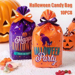 10pcs Halloween Candy Bags Cute Gift Bag Trick or Treat Gift Pumpkin Candy Bags Halloween Party Decoration Supplies @LS