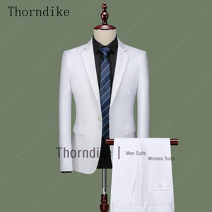 Thorndike Fashion White Men Suit for Beach Wedding Groom Tuxedos Notched Lapel Terno Two Piece Groomsmen Wear Slim Fit Men Suits