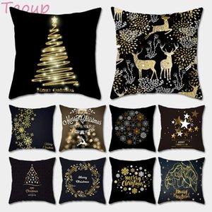Taoup Black Gold fiocco di neve Buon Natale federa Xmas Decor per la decorazione domestica per Natale Ornamenti di Natale Noel Babbo Natale
