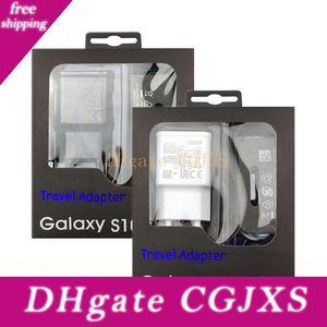 Genuina adaptativa cargador rápido QC3 0.0 S10 Wc2 0,0 S8 S6 Adaptador de corriente USB 1m 1 .2m Tipo -C cable USB Micro (US / EU)