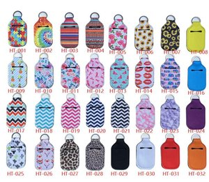 Neoprene Keychain Hand Sanitizer Holders Cover Keychain Colorfol Corrugation Bottle Holder Covers Pouch Chapstick Holder Party Favor AAB1167