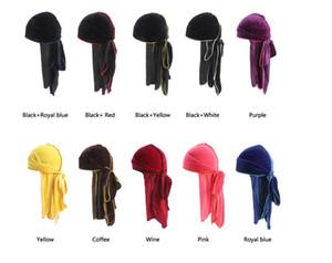 Heiße neue Unisex Velvet Durag Wave-Caps Extra-Long Tail und Wide Straps für Du-RAG Pirate Caps Machen Mitte Stich außen Haarschmuck