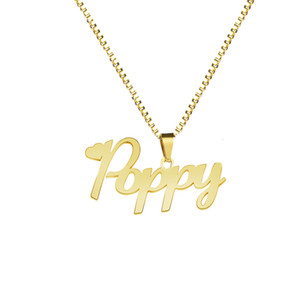 Custom Name Necklace With Box Chain Handmade Personalized Any Letter Pendant Stainless Steel Jewelry Birthday Gift For Boy Girls V191031