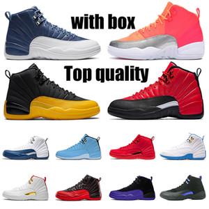 WITH BOX  nike air jordan 12 retro jordans 12s jumpman 23 농구 신발 남성 여성 스니커즈 스톤 블루 독감 게임 다크 콩코드 새틴요르단레트로 불스 스니커즈