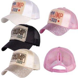 Presidente Trump 2020 gorras de béisbol de gorras de béisbol para mujeres de las señoras del brillo brillante de la cola de caballo Snapnacks ajustable Visera Moda Headwears E9101
