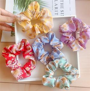 INS Daisy Flowers Scrunchies Floral Imprimir Cabelo Círculo Elastic rabo de cavalo titular elásticos meninas Big Intestino Hairbands Acessórios de cabelo D81201