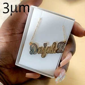 3UMeter Hip Hop Letter Necklace Name Personalized Custom Necklace Gold Color Rhinestone Necklace Pendant Mother's Day Gifts