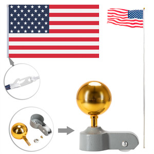 US Instock 20ft Solemn Outdoor Decoration Sectional Halyard Pole US America Flag Flagpole Kit Outdoor Gold Ball