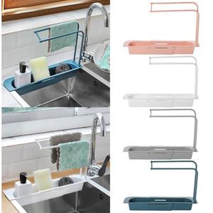 Telescópica Escurridor fregadero de la cocina de almacenamiento en rack bolso de la cesta del sostenedor del grifo de baño ajustable del sostenedor del fregadero de la cocina Accesorio