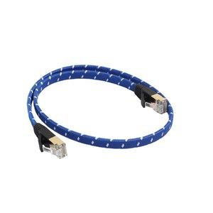 cgjxsFabric Örgülü Ultra Düz Kedi -7 10 Gigabit Ethernet RJ45 Kablo İçin Modem Router Lan Ağ Altın Kaplama RJ45 Konnektör