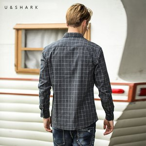 U&SHARK Black Plaid Shirts for Men Cotton Casual Flannel Shirt Men Long Sleeve Vintage Clothes Checkered Shirt Male Top Quality 200925
