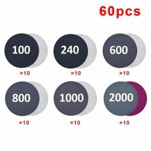 60pcs / set 100-2000 Grit Wet / Dry Schmirgelpapier Disc Haken und Schleife Schleifen Pads Heta #