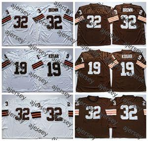 Vintage ClevelandBrownsMens Retro32JimBrown 19 Bernie Kosar Football Maillots pas cher à manches longues Chemises Stitched