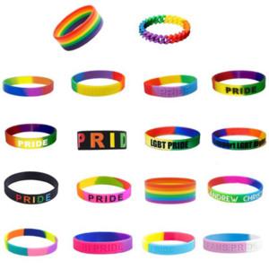 Праздничной Ультрамодного украшение Радуги браслетов сегментированных Gay Pride Силикон браслет Размер взрослые для подарка промотирования DWA819