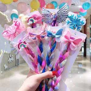 Las niñas los niños de color peluca trenzan los anillos de banda para el cabello arco iris del unicornio lentejuelas del brillo de la trenza de las pelucas del Ponytail del círculo de la princesa Pelos Largos D82705