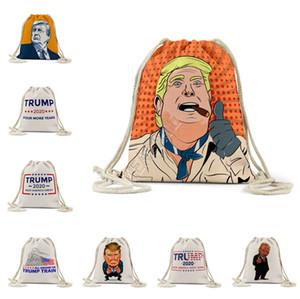 2020 Patrón EE.UU. Elección Presidencial Trump al aire libre Mochila de lino con cordón de bolsillo de la bolsa del bolso de almacenamiento Neceser monederos D81711