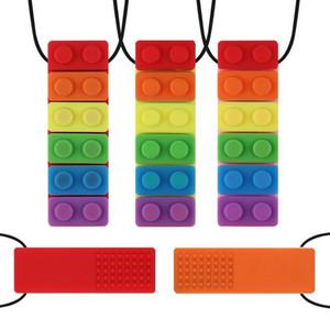 Bébé Teether arc-en-briques Chew Collier bébé silicone Teether autisme sensorielle Chew Outils de thérapie pour enfants Chewy Jouets