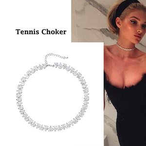 wholesale New Arrival Pear Cut Ice Cubic Zirconia CZ Crystal Shinning Tennis Choker Necklace for Women Jewelry Gifts