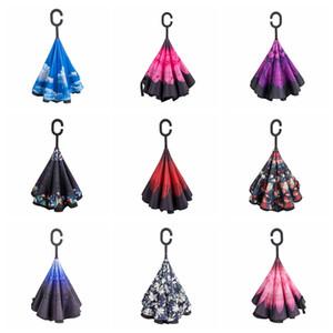 Creative 9 couleurs Inverted Parapluies double couche avec C poignée Inside Out arrière coupe-vent Ensoleillé Rainy Umbrella Wholesale BC BH0622