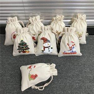 Yeni 8 stilleri Noel Santa Çanta Kanvas Mini Sant Sacks İpli Noel Şeker Hediye Çanta 08