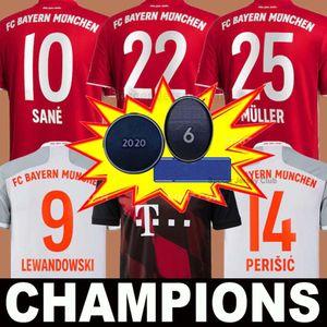 20 21 SANE COMAN بايرن ميونيخ LEWANDOWSKI MULLER لكرة القدم جيرسي 6 أكواب أبطال أوروبا 2020 2021 قميص كرة القدم ال120 MUNCHEN الرجال KIDS مجموعة موحدة