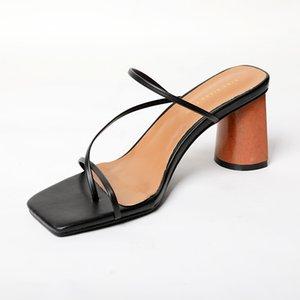 2021Summer Sandalet Kadın Ayakkabı Yüksek Topuklu Terlik Zarif Bayan Terlik Açık Toe