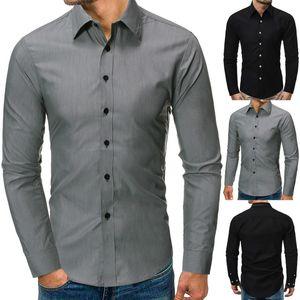 New Men Moda shirt dos homens Vestido Mens Solid Business Suit manga comprida Casual Camisa Masculina Slim Fit Shirt Hot Sale