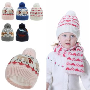 Baby Kids Christmas Beanies Cartoon Heart Winter Quality Children Caps Hats for 1-4 Years Christmas Knitted Hats 20pcs T1I2305