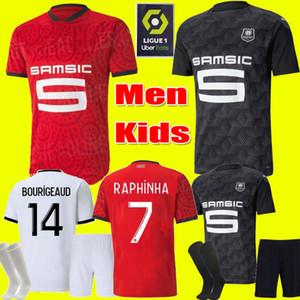 الرجال الاطفال 20 21 Rennes Soccer Jersey 2020 2021 Raphinha Camavinga Terrier J.Martin Stade Rennais FC Bourigeaud Home Thousehotts