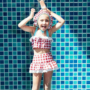 Girls Two Piece Swimsuit Falbala High Waisted Skirted Bikini Set Halter Neck Swimwear Gingham Printing Bathing Suits with Hats