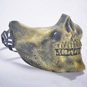 Táctica del guerrero del cráneo Máscara caza fiesta de Halloween traje de mascarada media máscara de Cosplay del juego de Protección Prop