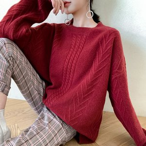 100% Pure Merino Wool Knitting Mulheres Camisolas Oneck solto Estilo quente grossa Pullovers fêmea pura lã malhas Jumpers
