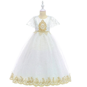 European and American style Baby girl Princess dress white lace Mesh Baby girl performance wedding dress Baby Girl clothes