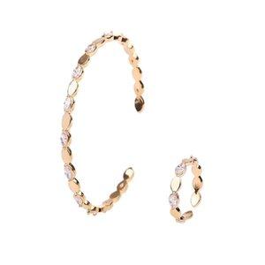 Braccialetto di rame di moda 2Pcs donne Ring Set regolabile gioielli da sposa di Zircon Exquisite Party Set di accessori