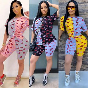 Two Piece Set Womens Colorblock Lip Pattern Tracksuit Loose Short Sleeve Crew Neck Solid Color Shorts Famale Designer