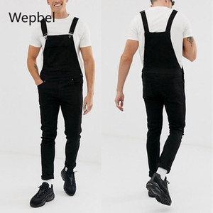 WEPBEL Модные мужские ремень Джинсовый комбинезон плюс размер рваные джинсы Брюки Омывается Casual черный карандаш брюки джинсовые