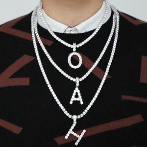 Joyas de moda Hip Hop Mujeres A-Z Inglés Carta collares cristalinos de Bling Bling hacia fuera helada cadena de los hombres de la personalidad del collar pendiente de DHE553