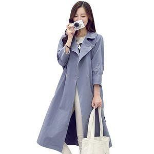 Women's Trench Coats Fashion 2021Spring Autumn Women Slim Long Coat Ladies Thin Cotton Mid-Long Wild Windbreaker L47