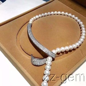 Hot sale new Style >> 10mm sea shell pearls necklace-cz micro pave connector