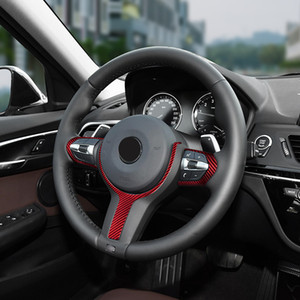 Red Glass fiber Steering wheel trim cover Car interior Auto Parts For BMW F20 F30 F34 F10 X1 X2 M2