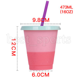 16oz Color Changing Cups PP Material Temperature Sensing Cups Skinny Tumblers Coffee Mugs Beer Cup With Lid Straws CYZ2740 50Pcs
