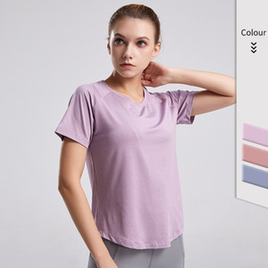 E-Baihui 2020 Ladies Slim Fit Yoga Tops Solid Color Round Neck Sports Short Sleeves Mesh Training Beauty Back T-Shirt 2031