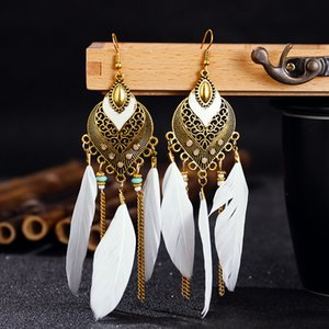2020 designer new exaggerated national style personality feather pendant earrings Bohemian fashion long earrings