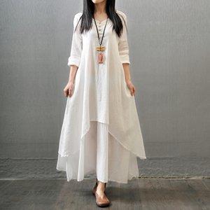 2020 Frühling und Herbst neue gefälschte Mian ma qun Mian ma qun zweiteilige langes Kleid künstlerisch groß Schaukel Leinenkleid lose mit langen Ärmeln Baumwolle und