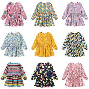90~130cm 여자 드레스 패션 아기 공주 드레스 긴 소매 꽃 플로라 스트라이프 전반적으로 캐주얼 가을 겨울 스커트 의류 D82005 탑