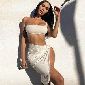 Strapless Crop Top Split Dresses Womens Desinger Two Piece Dress Dress Fashion Natural Color Suits Sexy