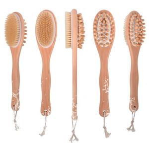 Cabeça de limpeza longo Handle Madeira Brushes Oval Air Bag Massagem escova cerdas de suínos esfoliante corpo Acessórios de Banho 9 95cl B2
