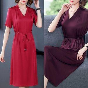 sBKf8 gW6In Hangzhou Seidenkleid für Frauen 2020 Sommer neuen Bauch Mittel len abnehmen Mutter groß Maulbeere lange langer Rock Seide cov Rock